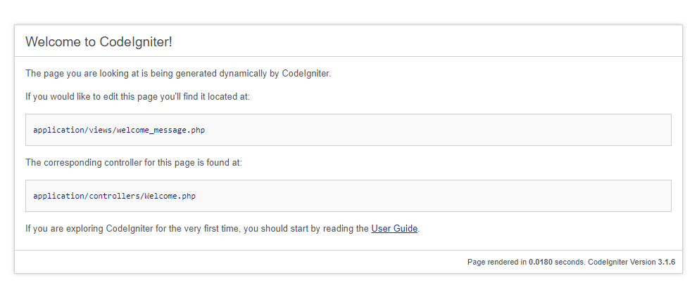 CodeIgniterの表示確認